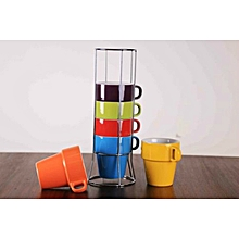 6pc Colored Mug Set