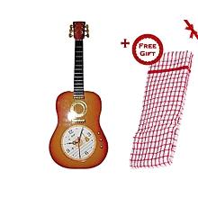 Guitar Shaped Wall Clock - Golden Brown (+ Free Gift Hand Towel).