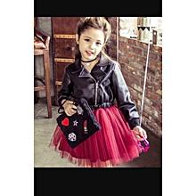 2019 Baby girl, leather jacket tutu dress- wine red tutu