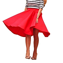 Women High Waist Solid Color Skirt - Red