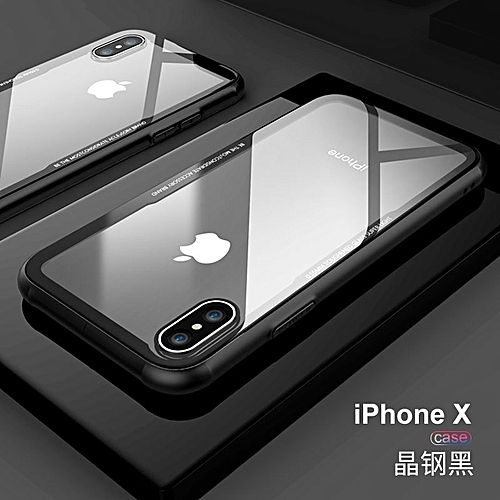 promo code e96eb aa560 DUZHI Tempered Glass Back Cover Case For iPhone X Soft Silicone Edge  Transparent Phone Case 5.8inch