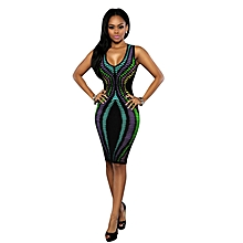 Womens African Print V-neck A-line Bodycon Dress Multicolor