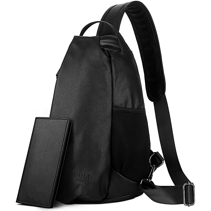 fadd8939b VICUNA POLO Personality Anti-theft Man Leather Solid Messenger Bag With  Gles Belt Large Capacity
