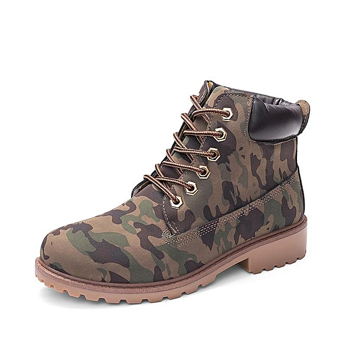 18a161326012 Fashion Women Pure Color Lace Up Ankle Outdoors Flat Casual Boots
