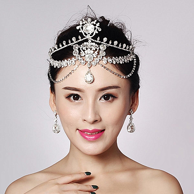 Bride Diamond Sparkling Crystal Rhinestone Hair Chain King Queen Tiara  Wedding Party Headpiece 37315f23ff6