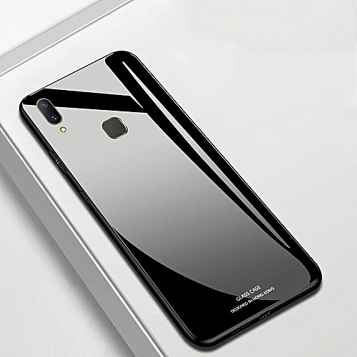 Glass Case For Vivo Y91 Y95 Cover Full Protection Tempered Glass Back Cover  Casing For Vivo Y91 Y91i Y95 Glass Housing (vivo Y95-Black)