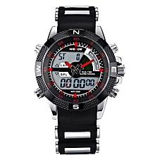 Watches, 1104 Men Multifunction LED Watches Dual Time Zone Waterproof Quartz Business Wristwatch - Black