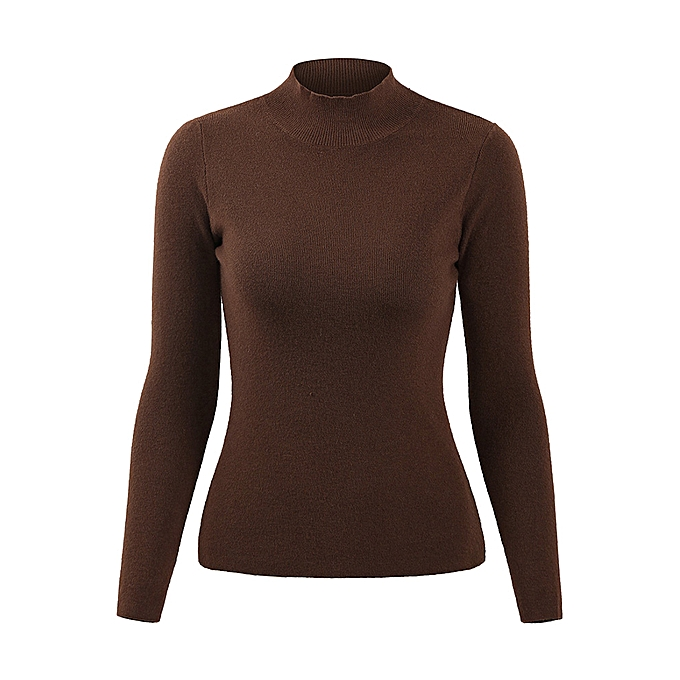5c64a0371719 Fashion Casual Women Autumn Winter Basic Knitted Sweater Solid Color  Turtleneck Pullovers Top Slim Knitwear