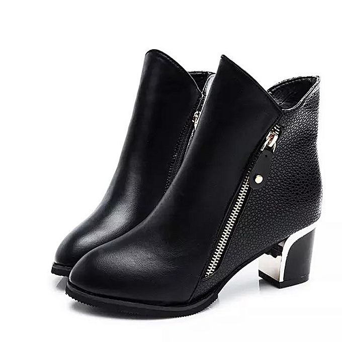 f05215fbe Women High Heels Booties Ankle Boots Zipper Fashion Low Shoes Wedge Shoes  BK/35-