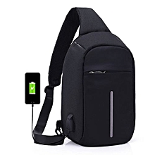 Waterproof Laptop Backpack With USB Charging Port - Black