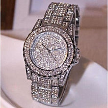 Luxury women watches rhinestone ceramic crystal Quartz watches Lady Dress Watch -Silver