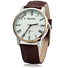 Male Analog Quartz Watch Leather Band 5ATM Water Resistant Small Dial Decorating-COFFEE GOLDEN WHITE