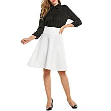 Women Stretch High Waist Solid Big Hem Pleated Knee Length Skirt ( White )