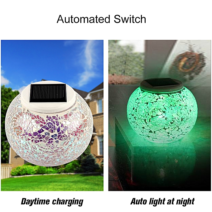 Security & Protection Mosaic Glass Outdoor Solar Power Light Color Changing Lawn Ball Lantern Led Light Yard Garden Holiday Decoration Lighting Lamps