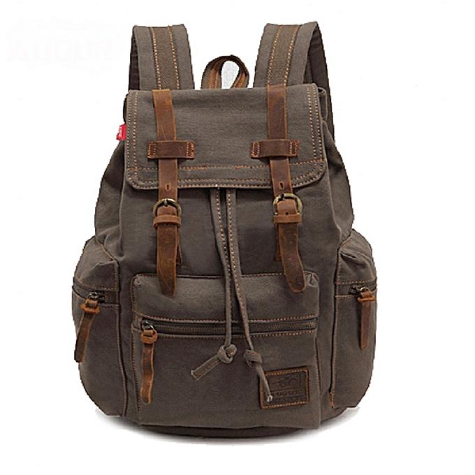 Leadsmart AUGUR Fashion Men Backpack Vintage Canvas School Bag Travel Large  Capacity 7195a464684dd