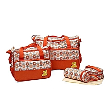 Cute new design 5 in 1 Baby Diaper Bag Nappy Changing Pad waterproof Travel Mummy Bag- Orange