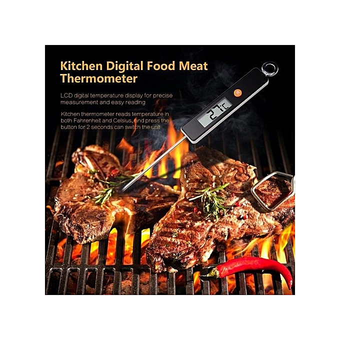 Digital Instant Read Food Meat Thermometer Kitchen Cooking BBQ Grill Temperature Measure Black