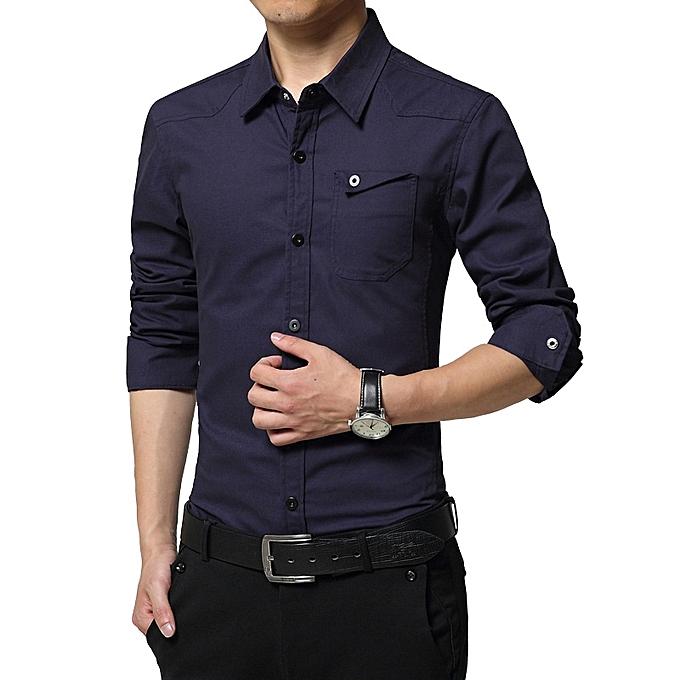 248a249f9dc7 Men Shirt military Mens Long Sleeve Slim fit camisa masculina Khaki Army  green Shirt High Quality