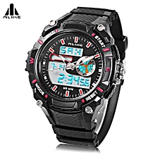 Male Dual Movt Sport Watch + Chronograph 5ATM + Outdoor Men Wristwatch-RED