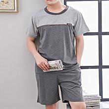 Mens Summer Short Sleeve Loose Cotton Casual Home Sleepwear Suit