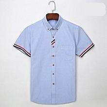 Men's Oxford Striped Decoration Short Sleeve Dress Shirt (Light Blue)
