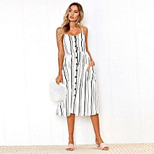 New Summer Women's Floral Print Sleeveless Shoulder-Straps Buttoned Backless Sexy Dress With 20 Colors Optional (White Stripes)