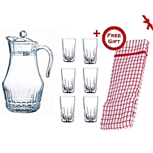 7 Piece Drinking Glasses and Jug Set (+ Free Gift Hand Towel).