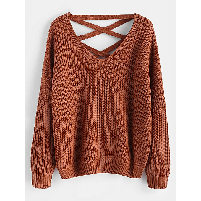 410bca6d00a07b ZAFUL Lace Up V Neck Jumper Sweater,Light Brown @ Best Price Online ...