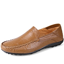 Men Formal Genuine Leather Casual shoes Loafers Khaki