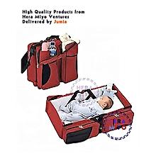 4 IN 1 FOLDING BABY DIAPER BAG, BASSINET, FOLDING CRIB BABY SHOWER GIFT Maroon