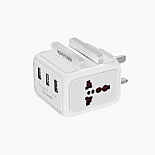 MyCharge CHARGING DOCK: White USB Wall Charger, Heavy Duty Charger with Smartphone Dock with 24W Dual Universal AC Sockets and 4.8A Three USB Ports for All Smartphones, Cameras and Tablets