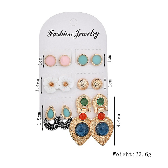 50819c1a0 Picture color-Accessories Popular White Flowers Ethnic Wind Earrings Mixed  with 6 pairs of female Earrings