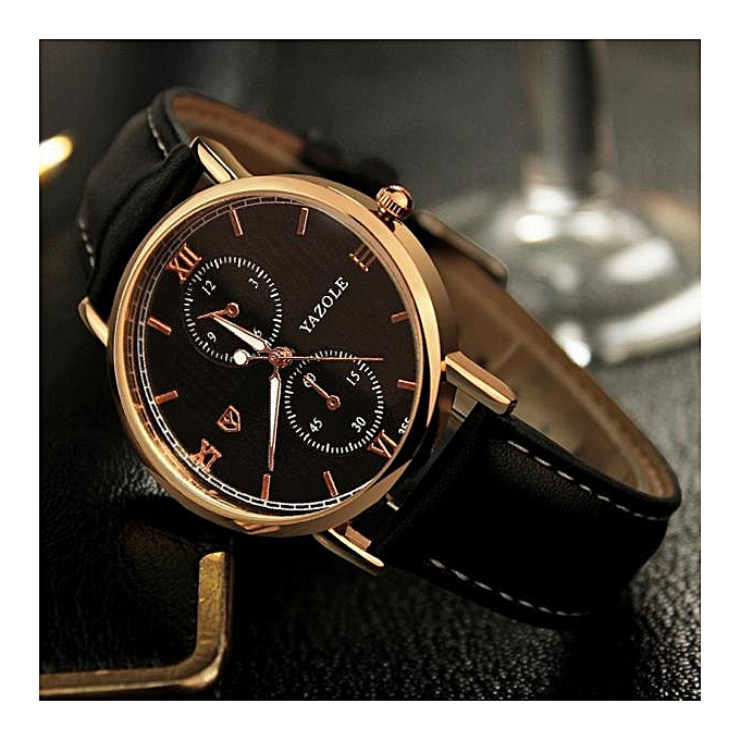 fb605281b19 Yazole Africashop Watch Luxury Fashion Leather Mens Glass Quartz Analog  Wristwatch Noctilucent Watches-Black ...