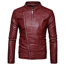 Personalized Diagonal Zipper Design Stand Collar Faux Leather PU Jacket for Men