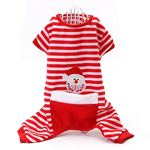 Buy Generic Santa Pet Dog Velvet Pajamas Striped Cat Jumpsuits Soft