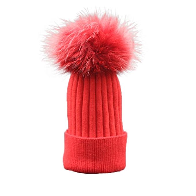 1d1628c002b ... singedanWomen Winter Crochet Hat Fur Wool Knit Beanie Raccoon Warm Cap  RD -Red