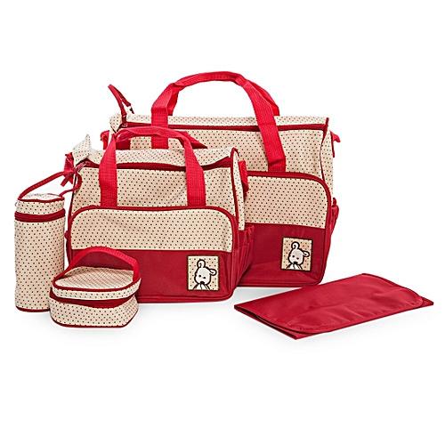 253b6bc2eba44 Elegant new design 5 in 1 Baby Diaper Bag Nappy Changing Pad waterproof  Travel Mummy Bag-Red