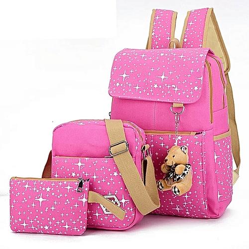 e07d5cc35b Generic School Bags Star Printing travel Backpack kids Orthopedic Backpack  3pcs Set Rucksack-Pink