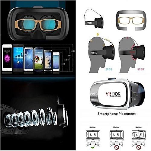 27491d2ae8c Generic (Colour Black) New VR BOX Universal Phone Virtual Reality 3D Gaming  Video Glasses Helmet + 3D Glasses Bluetooth Gamepad Remote Control  240ZDCP1325