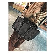 2 in 1 Fashionable PU Leather Rivet Women's Handbag Single-shoulder Bag Messenger Bag (Black)