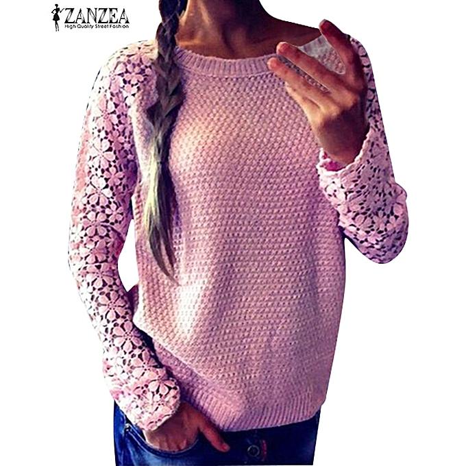 Zanzea Zanzea Womens Casual Lace Crochet Long Sleeve Loose Jumper