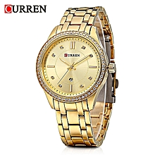 9010 Golden Quartz Women Watch With Diamond Calendar