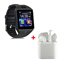 Smart Watch DZO9 Smartwatch  Plus Free Wireless Earphones - Black.