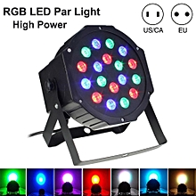 Professional Stage Lights 18 RGB PAR LED DMX512 Master-Slave Flat Projector Lamp For DJ Disco Party Lighting Specification:US Plug