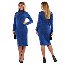 2b6d0ec2233 Fashion Women Solid Plus Size Dress Long Sleeve Casual Loose Party Dress
