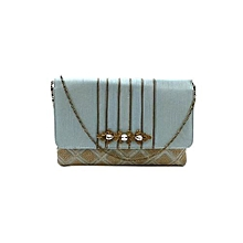 Checkered Clutch with Snazzy Brooch - Green