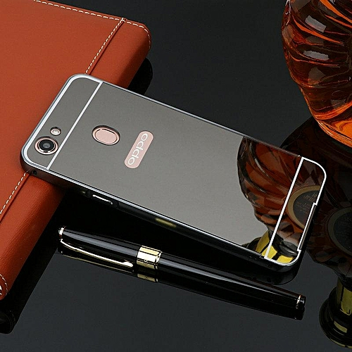 official photos f33db 505b7 Metal Frame Mirror PC Back Cover For Oppo A73