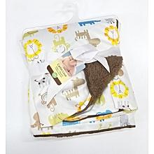 Super Soft Baby Receiving Blanket / Shawl  - White & Brown .