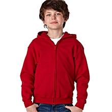 Red zipped plain kids hoodie