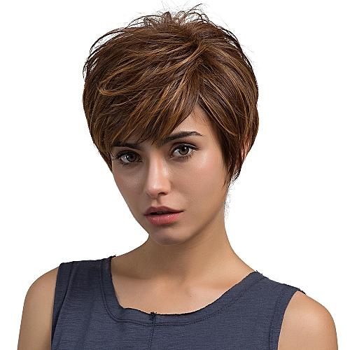 Neworldline Natural Light Brown Straight Short Hair Wigs Short Women s  Fashion Wig New -Brown f6be008a5d
